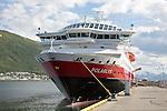 Hurtigruten ferry ship Polarlys at quayside, Tromso, Norway