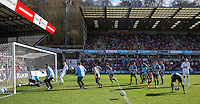 The Players hammer shots at the 2 Stars of the show  during The Impractical Jokers (Hit US TV Comedy) filming at Wycombe Wanderers FC at Adams Park, High Wycombe, England on 5 April 2016. Photo by PRiME Media Images.