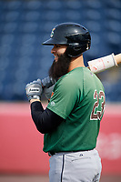 Clinton LumberKings first baseman Kristian Brito (23) during batting practice before a game against the West Michigan Whitecaps on May 3, 2017 at Fifth Third Ballpark in Comstock Park, Michigan.  West Michigan defeated Clinton 3-2.  (Mike Janes/Four Seam Images)