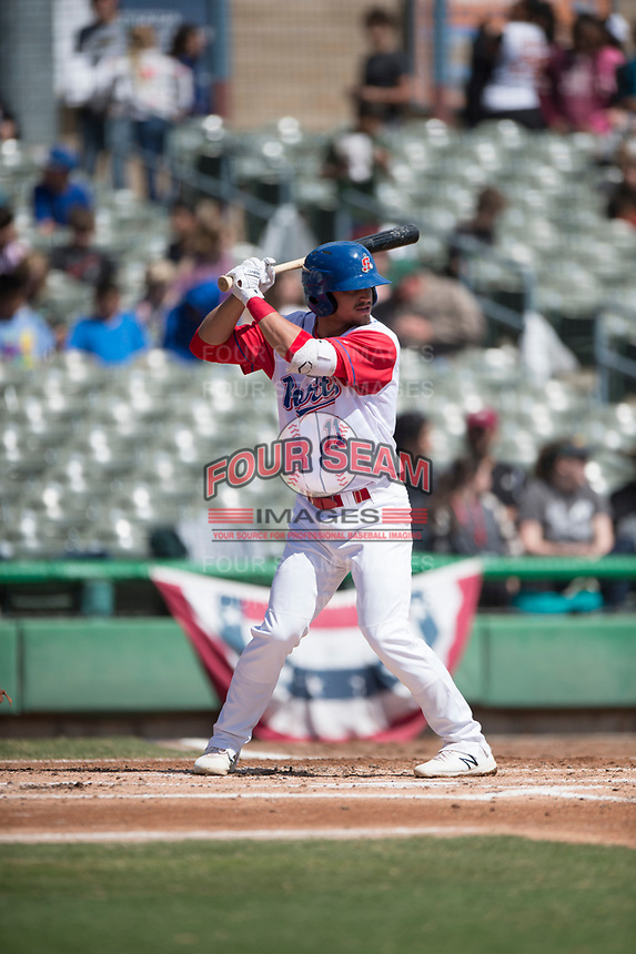 Stockton Ports shortstop Jeremy Eierman (11) during a California League game against the San Jose Giants on April 9, 2019 in Stockton, California. San Jose defeated Stockton 4-3. (Zachary Lucy/Four Seam Images)