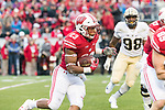 Wisconsin Badgers running back Jonathan Taylor (23) carries the ball during an NCAA College Big Ten Conference football game against the Purdue Boilermakers Saturday, October 14, 2017, in Madison, Wis. The Badgers won 17-9. (Photo by David Stluka)