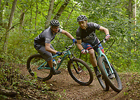 NWA Democrat-Gazette/BEN GOFF @NWABENGOFF<br /> Max Smith (from left) of Bella Vista, leads Steve Friedman of St. Louis, Mo. on a ride on Sunday Aug. 7, 2016 on a section of the new Back 40 mountain bike trail system near Lake Ann in Bella Vista. Roughly 15 miles of the new Bella Vista trails system opened to the general public on Saturday, with the remainder still under construciton.