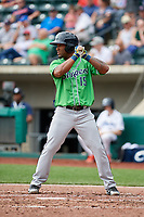 Gwinnett Stripers second baseman Danny Santana (15) at bat during a game against the Columbus Clippers on May 17, 2018 at Huntington Park in Columbus, Ohio.  Gwinnett defeated Columbus 6-0.  (Mike Janes/Four Seam Images)