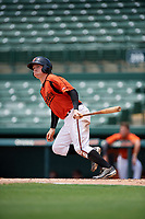 GCL Orioles third baseman Willy Yahn (2) follows through on a swing during a game against the GCL Rays on July 21, 2017 at Ed Smith Stadium in Sarasota, Florida.  GCL Orioles defeated the GCL Rays 9-0.  (Mike Janes/Four Seam Images)