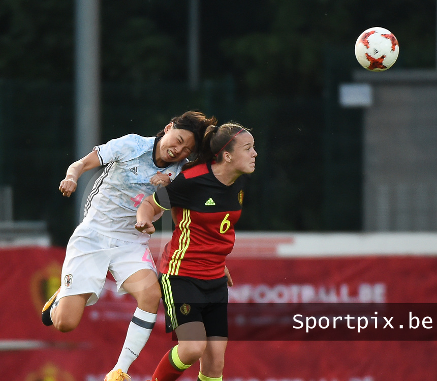 20170613 - LEUVEN ,  BELGIUM : Belgian Tine De Caigny (R) and Japanese Saki Kumagai (L) pictured during the female soccer game between the Belgian Red Flames and Japan , a friendly game before the European Championship in The Netherlands 2017  , Tuesday 13 th Juin 2017 at Stadion Den Dreef  in Leuven , Belgium. PHOTO SPORTPIX.BE | DIRK VUYLSTEKE