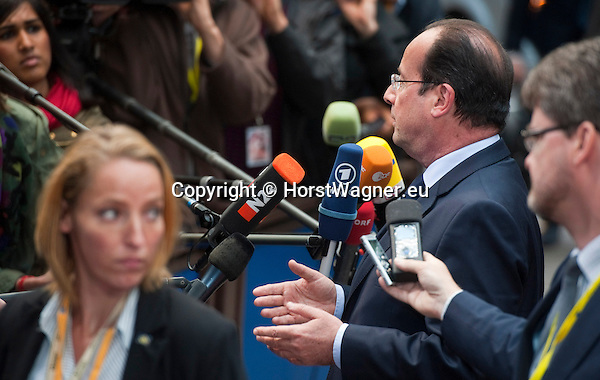Brussels-Belgium - May 27, 2014 -- European Council, EU-summit, meeting of Heads of State / Government for an informal dinner to evaluate and to conclude the results of the European elections; here, arrival of Francois (François) HOLLANDE, President of France -- Photo: © HorstWagner.eu