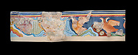 The Minoan 'Partridge Fresco', wall art from the  'Guset House' Knossos Palace, 1600-140 BC. Heraklion Archaeological Museum. Black Background. <br /> <br /> This Minoan fresco was painted in vivid colours using fine brush strokes and colour gradients. It portrays partridges , commonly found in Crete, among rocks and thopical Cretian flora. It decorated the pavillion in the so called 'Guset House' or 'Caravanserai.