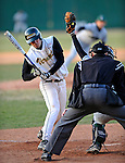 15 April 2008: University of Vermont Catamounts' fielder and designated hitter for the game Miguel Magrass, a Senior from West Roxbury, MA, is brushed back by a pitch during a game against the Dartmouth College Big Green at Historic Centennial Field in Burlington, Vermont. The Catamounts rallied from a 7-3 deficit going into the bottom of the ninth, to tie and then win in the tenth: 8-7 over Dartmouth in a non-conference NCAA game...Mandatory Photo Credit: Ed Wolfstein Photo