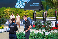 Team NZL take a look at the warm up course. Bruce Goodin and Daniel Meech. 2017 ESP-Longines FEI Nations Cup Jumping Final - CSIO Barcelona. Real Club de Polo de Barcelona. Wednesday 27 September. Copyright Photo: Libby Law Photography