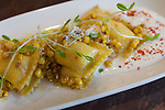 Agnolotti al Plina with sweet corn at FIGOLY Restaurant at Luxe City Center in Downtown Los Angeles, CA