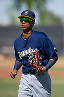 Milwaukee Brewers shortstop Yeison Coca (15) jogs off the field between innings during an Instructional League game against the San Diego Padres on September 27, 2017 at Peoria Sports Complex in Peoria, Arizona. (Zachary Lucy/Four Seam Images)