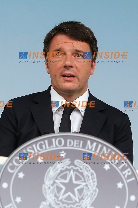 Matteo Renzi<br /> Roma 31-07-2015 Palazzo Chigi. Conferenza stampa al termine del Consiglio dei Ministri, cdm.<br /> Press conference after the Minister's cabinet.<br /> Photo Samantha Zucchi Insidefoto