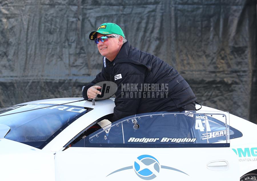 Feb 9, 2019; Pomona, CA, USA; NHRA pro stock driver Rodger Brogdon during qualifying for the Winternationals at Auto Club Raceway at Pomona. Mandatory Credit: Mark J. Rebilas-USA TODAY Sports
