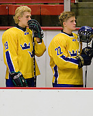 Rickard Rakell (Sweden - 19), Marcus Sörensen (Sweden - 22) - Sweden's Under-20 team defeated the Harvard University Crimson 2-1 on Monday, November 1, 2010, at Bright Hockey Center in Cambridge, Massachusetts.
