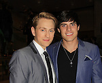 """Prospect Park's All My Children's Eric Nelsen """"AJ Chandler"""" poses with Da""""iel Covin """"Hunter"""" after the screening of beloved series """"All My Children"""" on April 23, 2013 at NYU Skirball, New York City, New York  as The Online Network (TOLN) - AMC - OLTL  begin airing on April 29, 2013 on Hulu, Hulu Plus. (Photo by Sue Coflin/Max Photos)"""