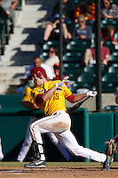 James Roberts #15 of the USC Trojans bats against the Cal State Northridge Matadors at Dedeaux Field on February 24, 2013 in Los Angeles, California. (Larry Goren/Four Seam Images)