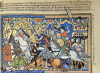 """Joshua Defeated at Ai: his is the first of the Picture Bible's great battle scenes. Joshua has taken a small contingent of the army to destroy the Amorite city of Ai. As soon as the Israelites arrive at the city gates, they are repulsed by a small force of defenders, including a crossbowman who takes aim from atop the portcullis. Thirty-six men of the expedition are killed as Amorite horsemen vengefully pursue and strike down their assailants. Joshua, shown again in brown tunic and with tri-point shield, narrowly escapes with his life. Nearby, an Amorite breaks his spear in the side of an Israelite horseman whose mount has collapsed beneath him, and a disoriented Israelite foot soldier is trampled by the fleeing cavalry. (Joshua 7:1ñ5). Excerpt of the first edition of the """"Crusader Bible"""", 13th century manuscript kept in the Pierpont Morgan Library in New York, on natural parchment made of animal skin published by Scriptorium SL in Valencia, Spain. © Scriptorium / Manuel Cohen"""