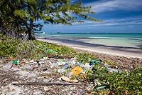 marine debris, plastic trash on the beach, washed ashore, Turneffe Atoll, Belize Barrier Reef, Belize, Caribbean Sea, Atlantic Ocean