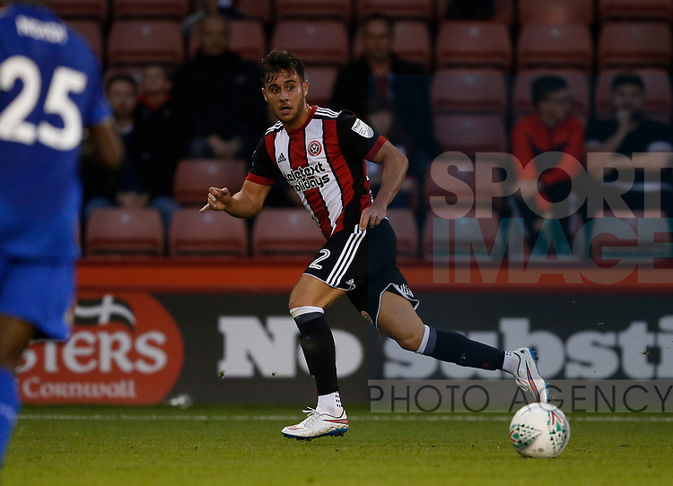 George Baldock of Sheffield Utd during the Carabao Cup, second round match at Bramall Lane, Sheffield. Picture date 22nd August 2017. Picture credit should read: Simon Bellis/Sportimage