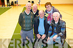Enjoying the Sean Chairde Open Day Indoor bowls event in Kenmare were members of Killorglin and Beaufort Bowls clubs. .Front L-R Michael Moloney, Gerard Teahan and Bernard Flynn. .Back L-R Michael O'Sullivan and Mary Teahan.