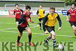 In Action Rattoo's Kieran Godley and AC's Jason Diggins at  the Dominos Pizza Reserve Cup Semi-Final  AC Athletic V Rattoo Rovers at Mounthawk Park on Sunday