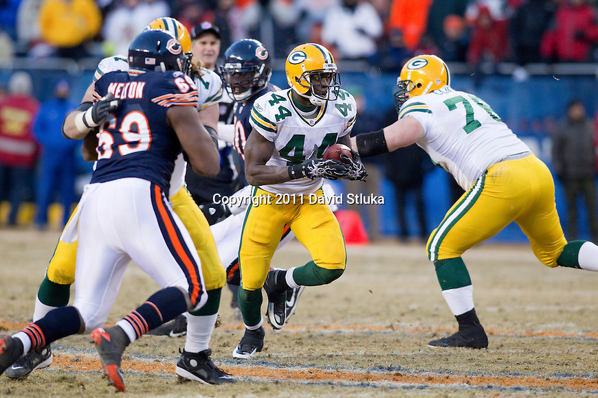Green Bay Packers running back James Starks (44) carries the ball during the NFC Championship NFL football game against the Chicago Bears at Soldier Field in Chicago on January 23, 2011. The Packers won 21-14. (AP Photo/David Stluka)