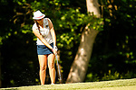 STILLWATER, OK - MAY 21: Chloe Salort of Kent Statechips onto the green during the Division I Women's Golf Individual Championship held at the Karsten Creek Golf Club on May 21, 2018 in Stillwater, Oklahoma. (Photo by Shane Bevel/NCAA Photos via Getty Images)