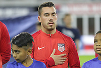 WASHINGTON, D.C. - OCTOBER 11: Daniel Lovitz #5 of the United States during the national anthem prior to their Nations League game versus Cuba at Audi Field, on October 11, 2019 in Washington D.C.