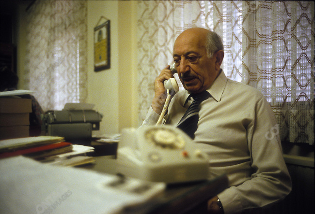 Holocaust survivor and Nazi hunter Simon Wiesenthal in his office at the Jewish Documentation Center. Vienna, Austria, June 1979