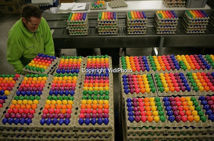 Foto: VidiPhoto..BARNEVELD - Topdrukte bij eipakstation Eicom in Barneveld. Zo vlak voor Pasen moeten een half miljoen gekleurde eieren uit Duitsland de Nederlandse markt op. Gekleurde eieren zijn in Duitsland razend populair, terwijl dat in Nederland nog op gang moet komen. Daarom verwerkt Eicom alleen de drie weken voor Pasen gekleurde eieren. Het Barneveldse bedrijf is op het terrein van gekleurde eieren de grootste leverancier in Nederland.