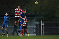 Tom Kavanagh of Kingstonian heads clear during Kingstonian vs Lewes, BetVictor League Premier Division Football at King George's Field on 16th November 2019