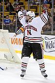 Ryan Ginand (NU - 3) - The Harvard University Crimson defeated the Northeastern University Huskies 3-1 on Monday, February 4, 2008, in the opening game of the 2008 Beanpot at TD Banknorth Garden in Boston, Massachusetts.