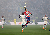 16th May 2018, Stade de Lyon, Lyon, France; Europa League football final, Marseille versus Atletico Madrid; Andre-Frank Zambo Anguissa of Marseille puts pressure on Antoine Griezmann of Atletico Madrid