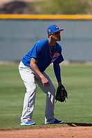 Chicago Cubs shortstop Luis Vazquez (1) during a Minor League Spring Training game against the Los Angeles Angels at Sloan Park on March 20, 2018 in Mesa, Arizona. (Zachary Lucy/Four Seam Images)