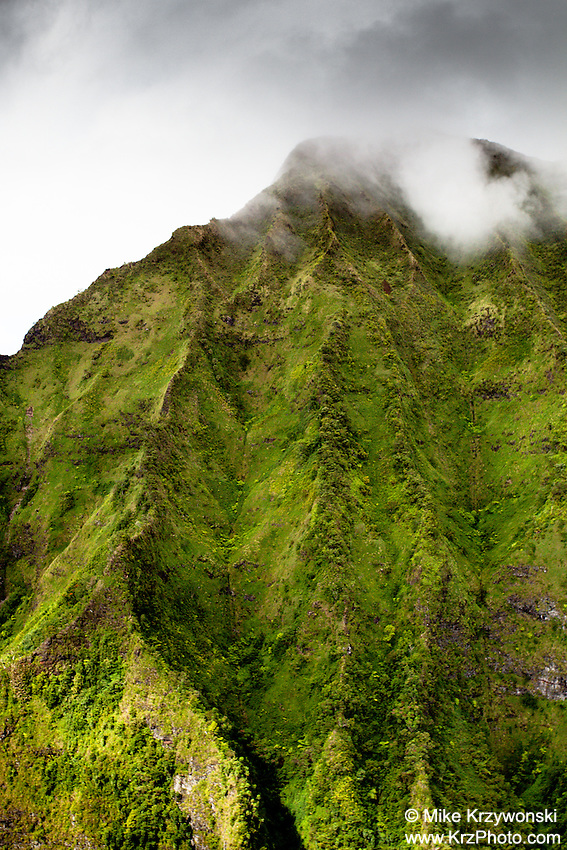 Aerial close up view of the Ko'olau mountains, Kaneohe, Oahu