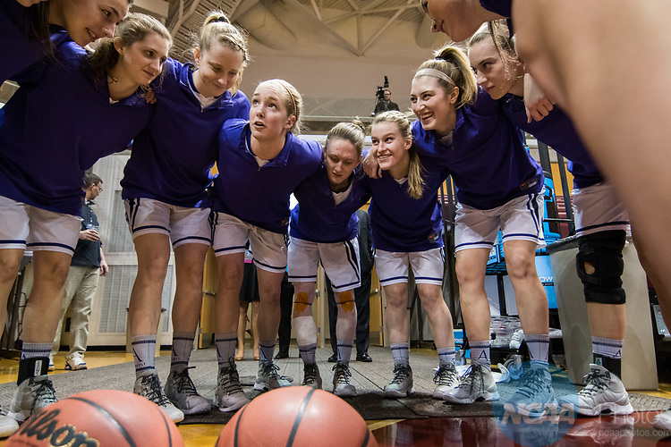 GRAND RAPIDS, MI - MARCH 18: Amherst College huddles up before the Division III Women's Basketball Championship held at Van Noord Arena on March 18, 2017 in Grand Rapids, Michigan. Amherst defeated 52-29 for the national title. (Photo by Brady Kenniston/NCAA Photos via Getty Images)