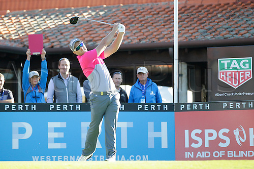 25.02.2016. Perth, Australia. ISPS HANDA Perth International Golf. Davniel Nisbet (AUS) hits his first shot for the tournament on tee 1 day 1.