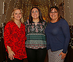 Bethlehem, CT-021619MK05 (from left) Debbie Geddes, Jennifer Buonocore and Judy Defloria, from Thomaston Savings Bank, gathered at the Loins Club's Snow Dance fundraiser in Bethlehem.  The third annual event is the club's biggest fund raiser of the year with proceeds going toward local high school scholarships, funds for the local EMS and to the international campaign serving Individuals sight and hearing impairments. Michael Kabelka / Republican-American.