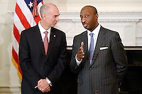 Juan Luciano (L) Chairman/President/CEO at Archer-Daniels-Midland Co and Kenneth Frazier (R) Chairman and CEO, of Merck  attend a  listening session with manufacturing CEOs  in the State Dining Room  of the White House on February 23, 2017 in Washington, DC. Photo Credit: Olivier Douliery/CNP/AdMedia