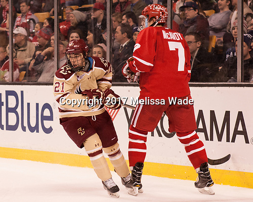 Matthew Gaudreau (BC - 21), Charlie McAvoy (BU - 7) - The Boston University Terriers defeated the Boston College Eagles 3-1 in their opening Beanpot game on Monday, February 6, 2017, at TD Garden in Boston, Massachusetts.