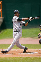 Ebert Rosario (43) of the Greeneville Astros follows through on his swing at Bowen Field in Bluefield, WV, Sunday July 6, 2008. (Photo by Brian Westerholt / Four Seam Images)