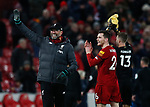 Jurgen Klopp manager of Liverpool waves to the fans along with Andrew Robertson of Liverpool during the Premier League match at Anfield, Liverpool. Picture date: 30th November 2019. Picture credit should read: Simon Bellis/Sportimage