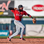 29 July 2018: Batavia Muckdogs infielder Demetrius Sims gets the second out in the 6th inning against the Vermont Lake Monsters at Centennial Field in Burlington, Vermont. The Lake Monsters defeated the Muckdogs 4-1 in NY Penn League action. Mandatory Credit: Ed Wolfstein Photo *** RAW (NEF) Image File Available ***