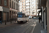 Antwerp tram line 11 running along Ommeganckstraat headed toward Deurne Eksterlaar from Melkmarkt