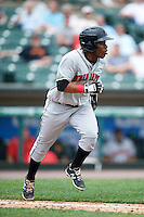 Indianapolis Indians shortstop Gift Ngoepe (5) during a game against the Rochester Red Wings on May 26, 2016 at Frontier Field in Rochester, New York.  Indianapolis defeated Rochester 5-2.  (Mike Janes/Four Seam Images)