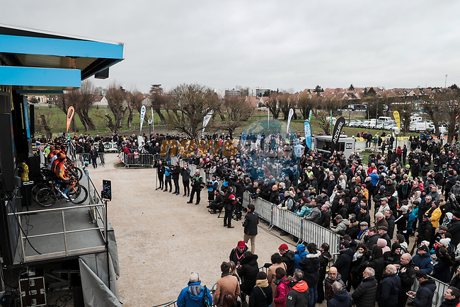 Team Presentation before the 78th edition of Paris-Nice 2020, Plaisir, France. 8th March 2020.<br /> Picture: ASO/Fabien Boukla | Cyclefile<br /> All photos usage must carry mandatory copyright credit (© Cyclefile | ASO/Fabien Boukla)