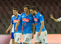 Gonzalo Higuain  and  Manolo Gabbianini celebrates after scoring during the Italian Serie A soccer match between   SSC Napoli and UC Sampdoria at San Paolo  Stadium in Naples ,April 26 , 2015