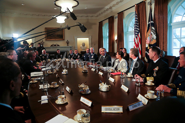 United States President Barack Obama meets with Combatant Commanders and Joint Chiefs of Staff with Vice President Joe Biden and US National Security Advisor Susan Rice  in the Cabinet Room of the White House, in Washington, DC, April 5, 2016. Photo Credit: Aude Guerrucci/CNP/AdMedia