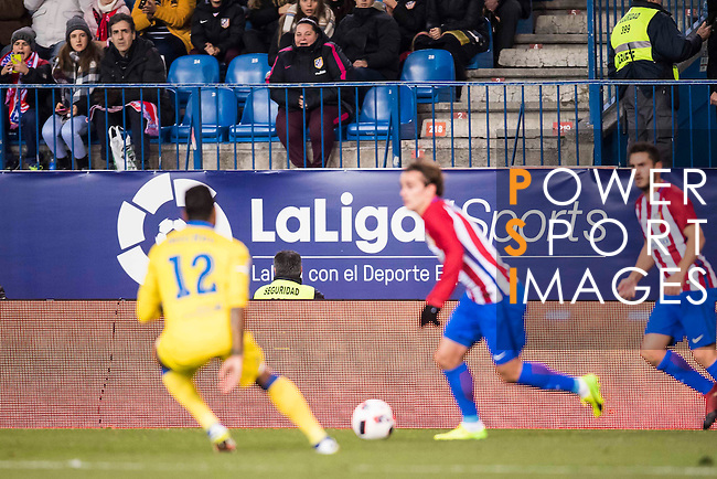 La Liga signboards are pictured as Antoine Griezmann of Atletico de Madrid fights for the ball with Michel Macedo of UD Las Palmas during their Copa del Rey 2016-17 Round of 16 match between Atletico de Madrid and UD Las Palmas at the Vicente Calderón Stadium on 10 January 2017 in Madrid, Spain. Photo by Diego Gonzalez Souto / Power Sport Images