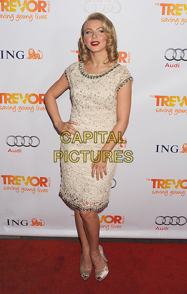 Julianne Hough.Trevor Live at The Hollywood Palladium in Hollywood, California, USA..December 4th, 2011.full length dress hand on hip white grey gray lace beads beaded peep toe shoes .CAP/ROT/TM.©Tony Michaels/Roth Stock/Capital Pictures